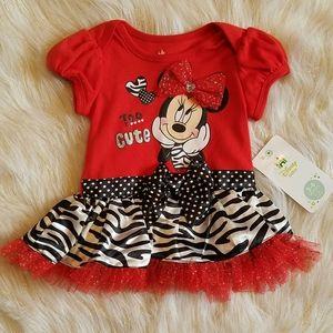 🌻🧸NWT Disney Baby Minnie Mouse Zebra Print Dress